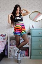 rainbow Boohoo shorts - silver platform YRU shoes - black crop Primark top