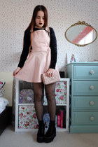 light pink pinafore Style London dress - light pink quilted Moschino bag