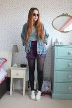 charcoal gray denim Boohoo jacket - white platform TK Maxx shoes