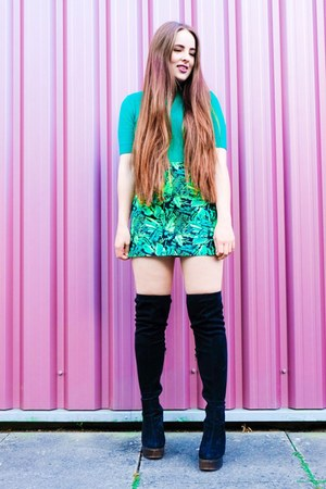green palm print H&M skirt - black thigh high Public desire boots