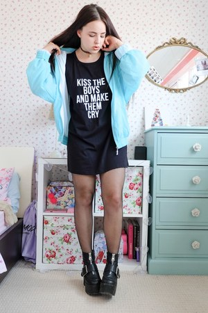 black t-shirt Primark dress - aquamarine vintage Rokit jacket