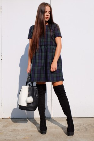 forest green tartan Tallulahs Threads dress - black thigh high Primark boots