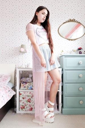 light blue mesh Kaleidoo Clothing skirt