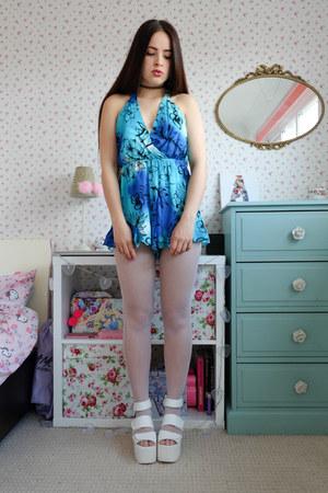 white platform la moda sandals - turquoise blue floral print OASAP romper