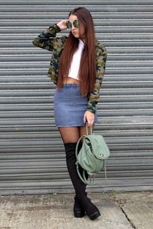 black thigh high Public desire boots - olive green camo H&M shirt