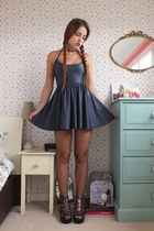 gray skater American Apparel dress - black choker Shop Moon Face necklace
