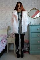 light pink fluffy Matalan coat - black gingham Primark dress