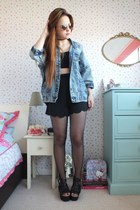 black scallop hem Front Row Shop shorts - periwinkle denim Boohoo jacket