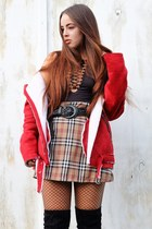 camel tartan Love Too True skirt - red Sheinside coat