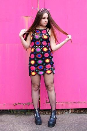 black crochet H&M dress - bubble gum flower cat ears Candy Flower hair accessory