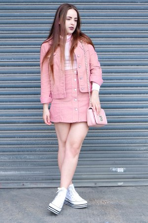 pink corduroy Primark jacket - pink quilted Love Moschino bag