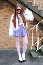 white unicorn Sheinside top - white faux fur Boohoo coat