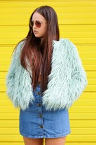 aquamarine faux fur asos coat - white lace up Spy Love Buy boots