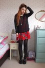 Black-chunky-leather-topshop-boots-red-floral-print-justfor5pound-dress