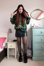 Black-faux-leather-yoins-dress-green-butterfly-yoins-sweatshirt