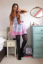 black platform Jeffrey Campbell boots - bubble gum tie dye Topshop dress