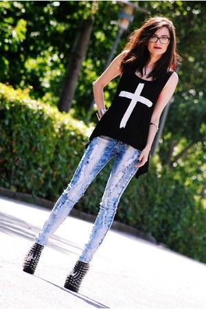 Jeffrey Campbell shoes - Armani Exchange jeans - romwe blouse