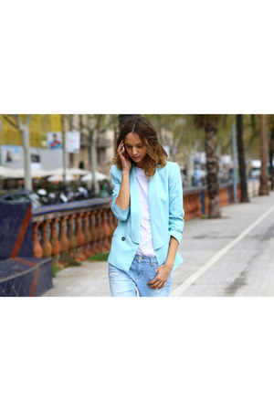 blue blazer - white shirt