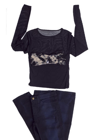 black acid wash American Apparel shirt - blue slim slack American Apparel pants
