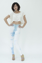 beige American Apparel shirt - blue American Apparel jeans