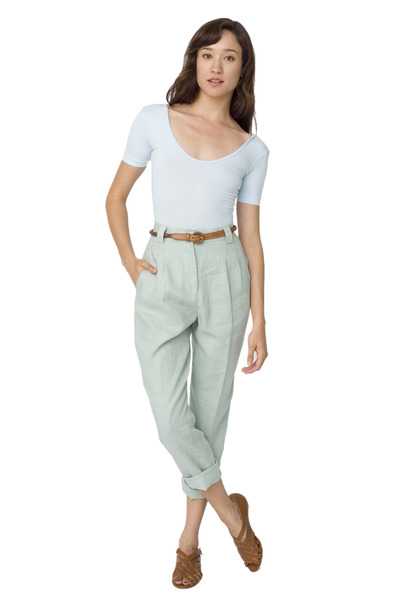 Linen High-Waist Pleated Pant by AmericanApparel | Chictopia