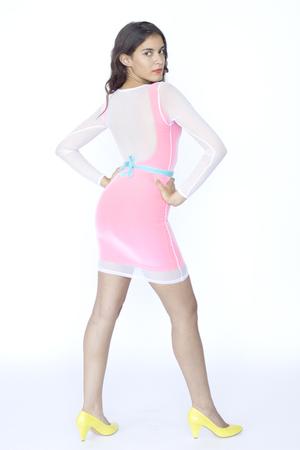 white mesh mini American Apparel dress - pink mini dress American Apparel dress