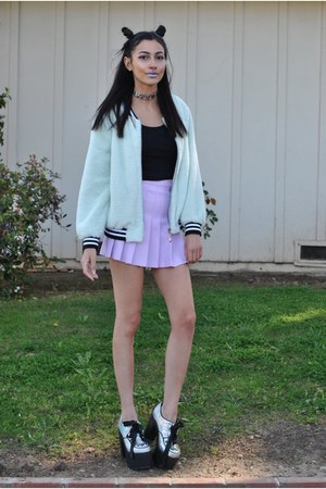 aquamarine KokoPieCoco jacket - light purple tennis skirt American Apparel skirt