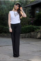 Zara hat - wide legged Mango pants