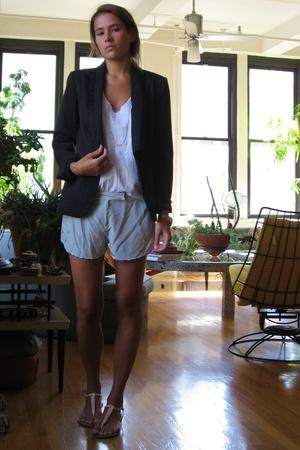 Zara blazer - Hanes t-shirt - Lux shorts - ampersand necklace