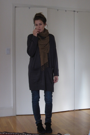 scarf - H&M sweater - H&M jeans - Minnetonka shoes