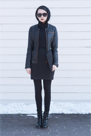 house jacket - zalando boots - vintage leggings - house sunglasses