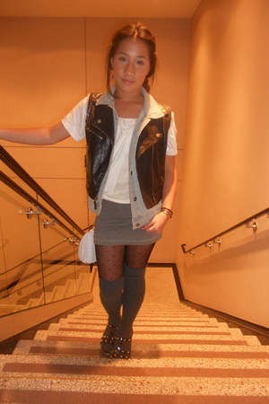 Forever 21 top - H&M skirt - Mudd vest - MaxAzria vest - thrifted bag - H&M sock