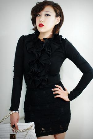 black 2BB3 blouse - black 2BB3 skirt - silver 2BB3 purse - black 2BB3 shoes