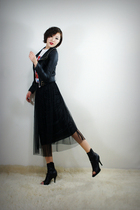 black 2BB3 jacket - black 2BB3 skirt - black 2BB3 shoes - white 2BB3 top