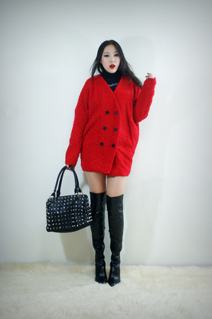 red style2bb3 coat - black style2bb3 purse - black style2bb3 dress - black style
