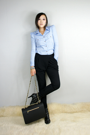 blue style2bb3 shirt - black style2bb3 shoes - black style2bb3 purse