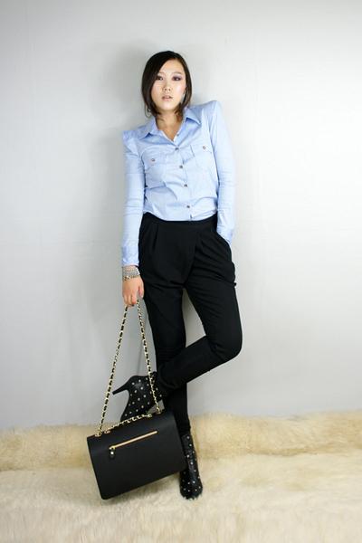 blue style2bb3 shirt - black style2bb3 shoes - black style2bb3 purse
