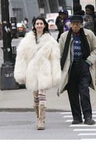 ivory vintage coat - cream Akira leggings - H&M necklace