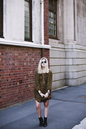 sheer print free people dress - Prada sunglasses