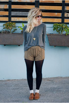 knitted Chicwish shorts - brass triangle Cake League necklace