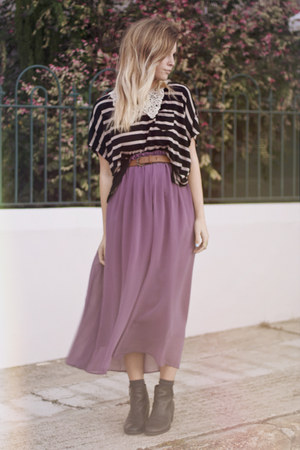 lilac midi romwe skirt - striped romwe top - lace collar romwe necklace
