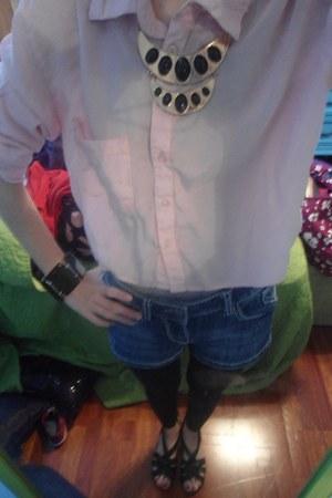 shorts - leggings - necklace - blouse - bracelet - wedges