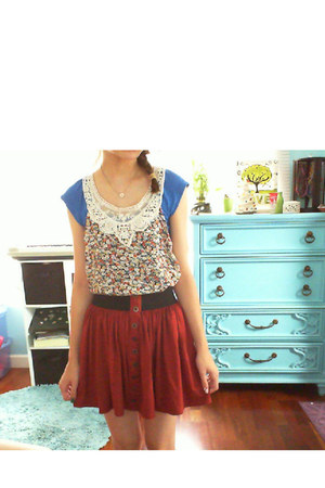 tank top floral Forever 21 top - Forever 21 skirt