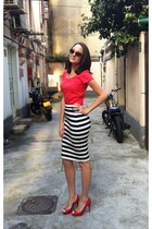 black striped skirt Shanghai Designer skirt