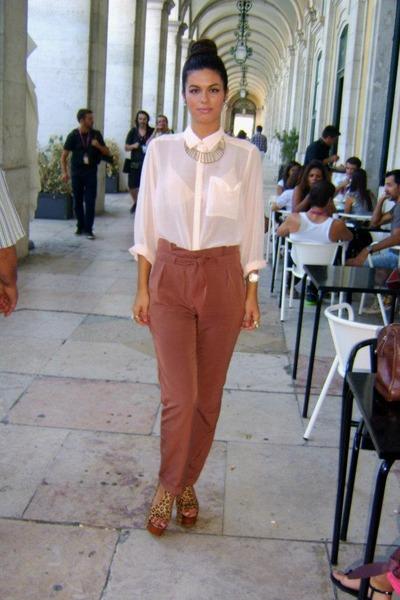 sheer peach H&M blouse - high waisted BLANCO pants