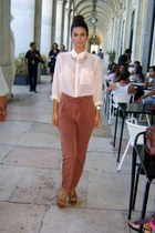 sheer peach H&M blouse - high waisted BLANCO pants