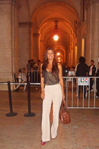 Zara pants - brown Mango bag - gold Zara belt - black and gold TRF top