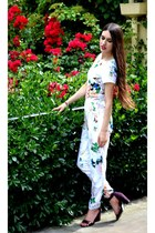 white floral print Missguided romper - maroon heels Dorothy Perkins sandals