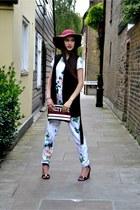 white jumpsuit Missguided romper - brick red floppy hat asos hat