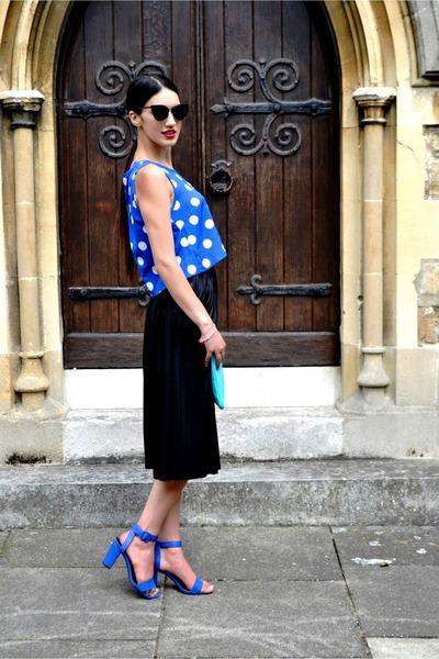 blue crop top Stylestorm top - turquoise blue purse Miss Selfridge bag